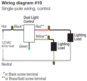 rotary dimmer switch wiring diagram lutron s2-l-wh skylark 2 x 300w incandescent / halogen ...